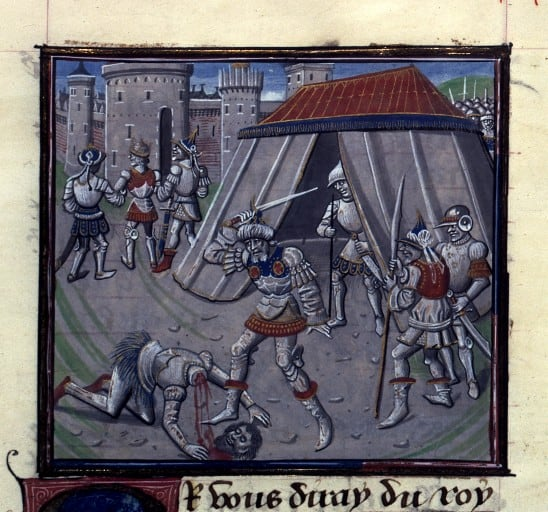 A medieval depiction of Salahuddeen's execution of Raynald of Chatillon.