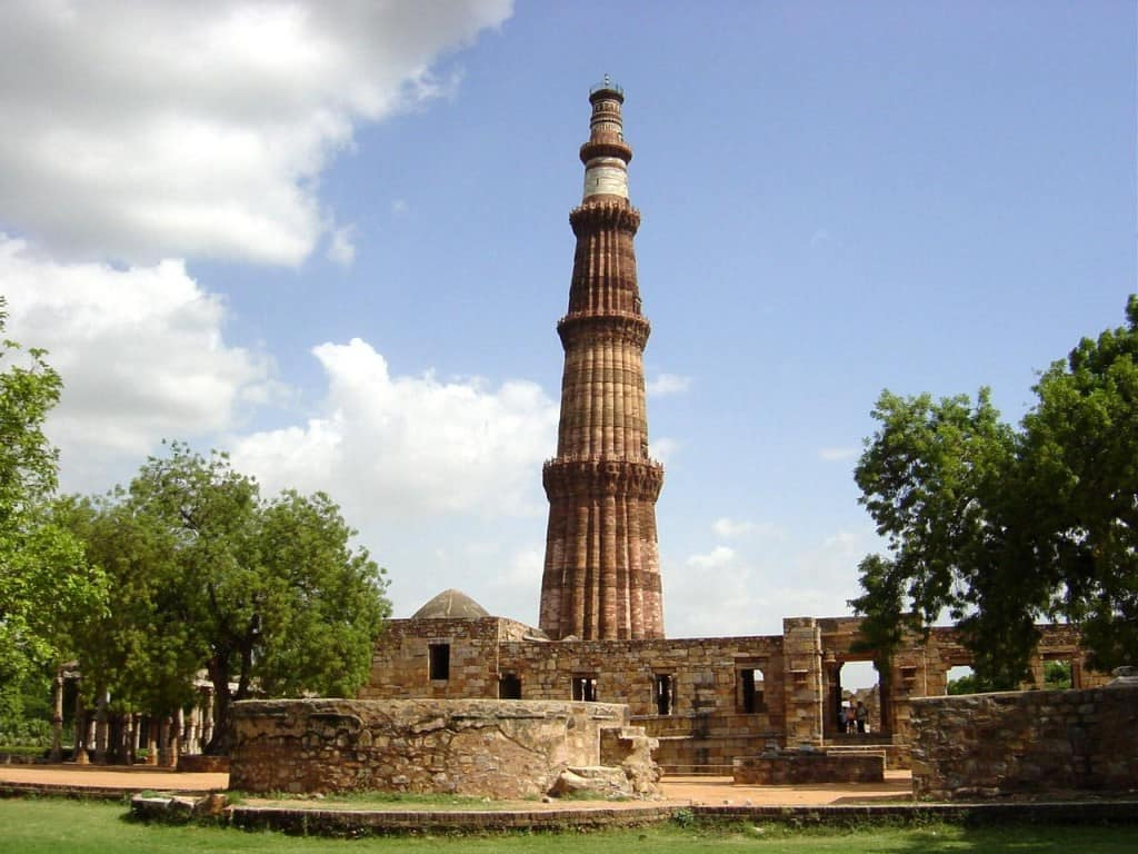 The world-famous Qutb Minar in Delhi, ordered by Qutb-ud-Din Aibak and still to this day the tallest brick minaret in the world at 120m. Its construction started in 1200.