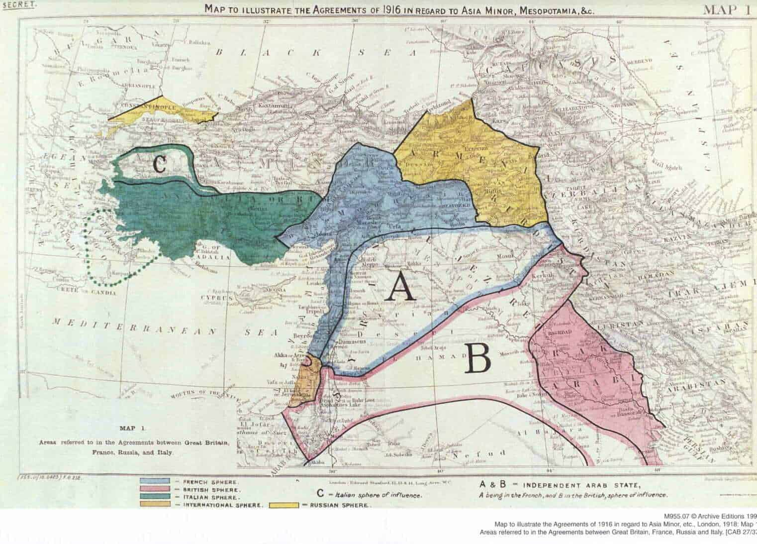 The infamous map of the Sykes Picot Agreement, leaked by Communist Russia.