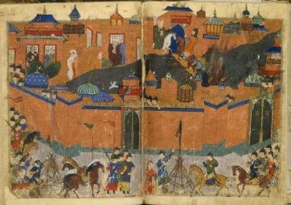 A famous 14th century Persian painting of the sacking of Baghdad by the Mongols.