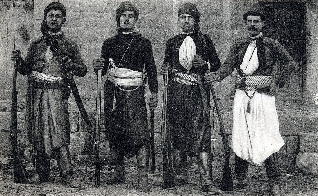 Christian fighters during the Mount Lebanon civil war.