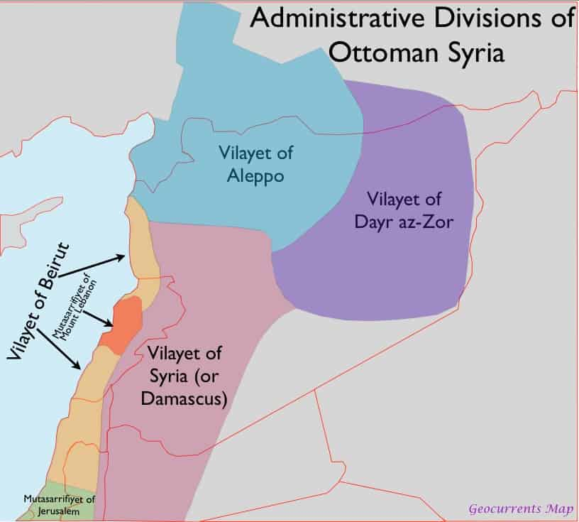 Administrative divisions of Al-Sham under Ottoman control - as they were in one of several iterations.