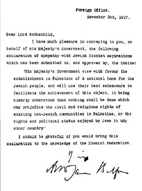 The Balfour Declaration.