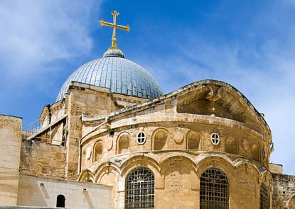 The Church of the Holy Sepulcher in Jerusalem, one of many sites protected under the 'Umari Treaty.