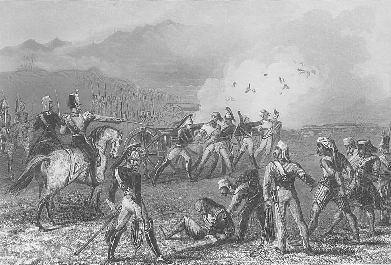 Mutinous Indians (Muslims and Hindus) were literally blown to bits by being shot at from a cannon, in a form of punishment designed squarely to deter further mutinous action.