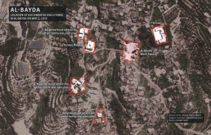 Aerial depiction of Government atrocities in the village