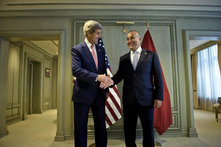 "Cavusoglu and Kerry meet in August 2016, prior to the launch of Operation ""Euphrates Shield""."