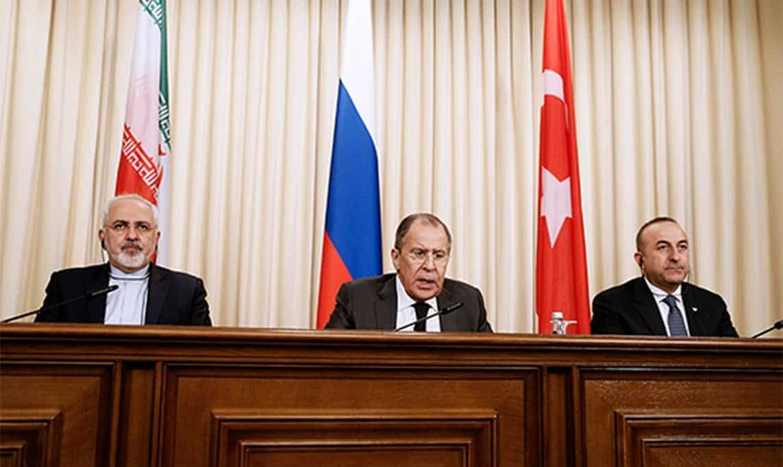 The Foreign Ministers of Iran, Russia and Turkey meet in Moscow, Dec 2016.