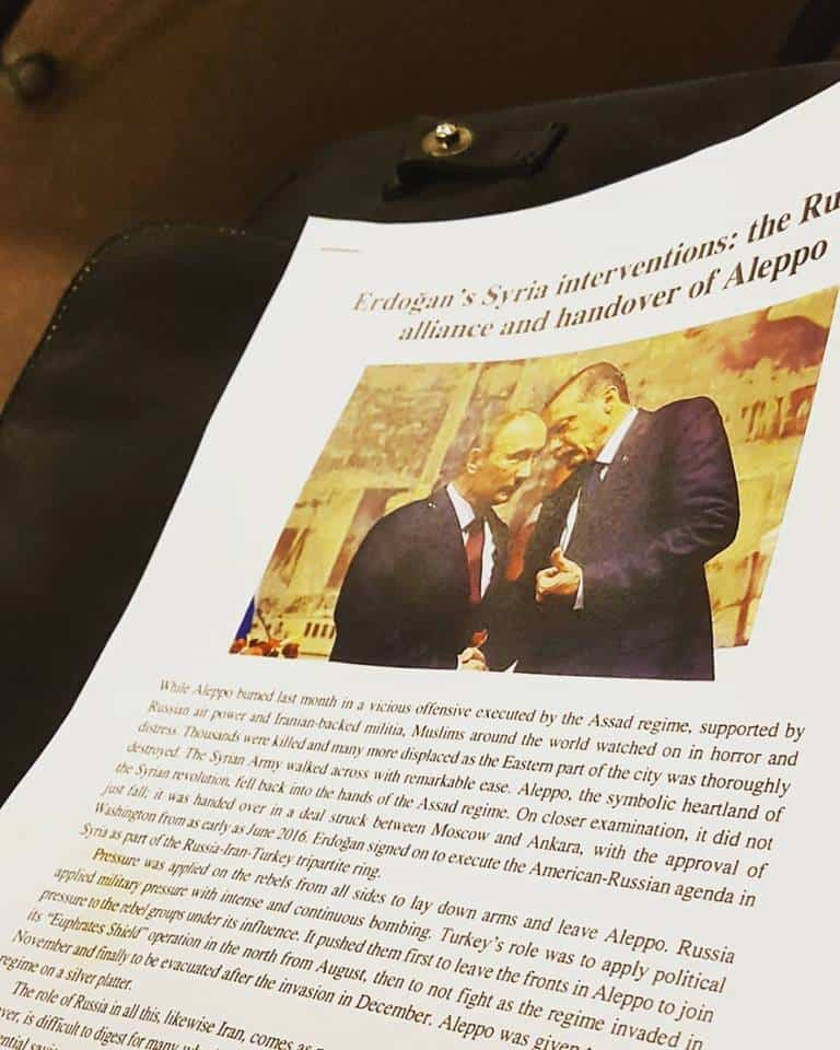 Copies of HT Australia's comprehensive recent essay on Erdogan's Syrian intervention and the handover of Aleppo were distributed tonight. READ HERE: http://www.hizb-australia.org/2017/01/essay-erdogans-syria-interventions-the-russian-alliance-and-handover-of-aleppo/