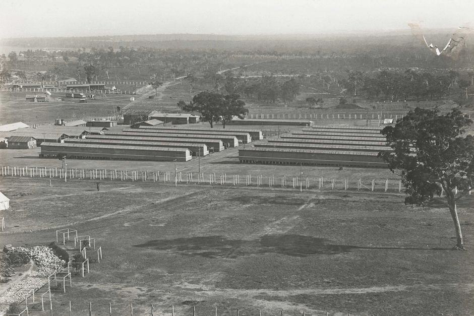 An elevated view of the German internment camp at Holsworthy, looking north and showing the number 3 and 4 compounds.