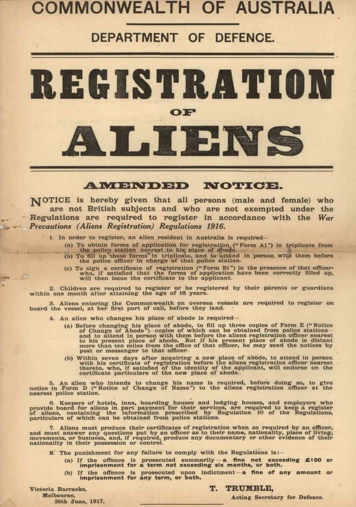 """Notice is hereby given that all persons (male and female) who are not British subjects and who are not exempted under the Regulations are required to register in accordance with the War Precautions (Aliens Registration) Regulations 1916"""