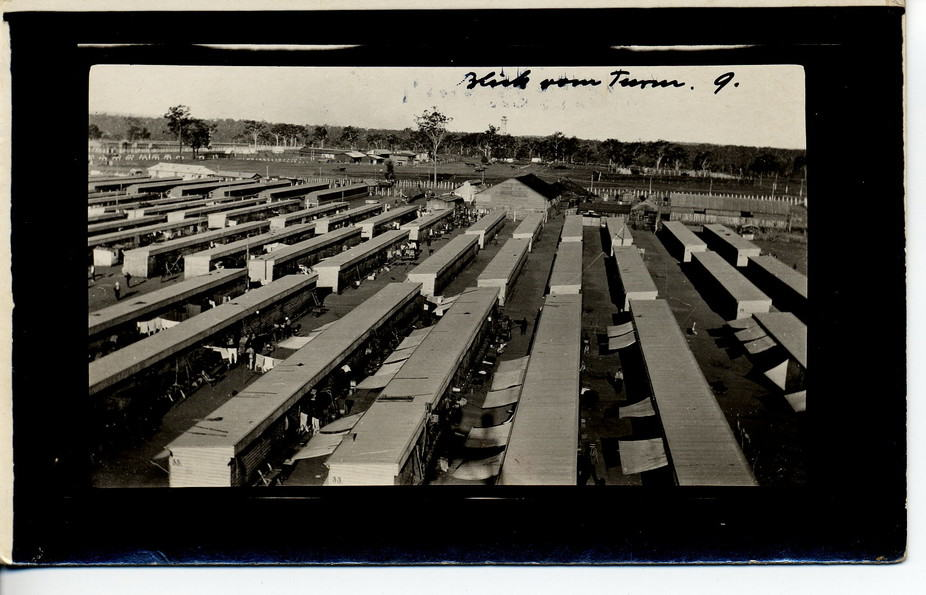 A 'view from tower' reveals the long rows of huts at Holsworthy internment camp, where Germans were interned during the First World War.