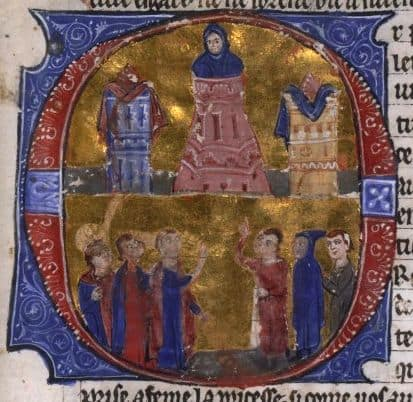 A medieval depiction of Raynald of Chatillon.