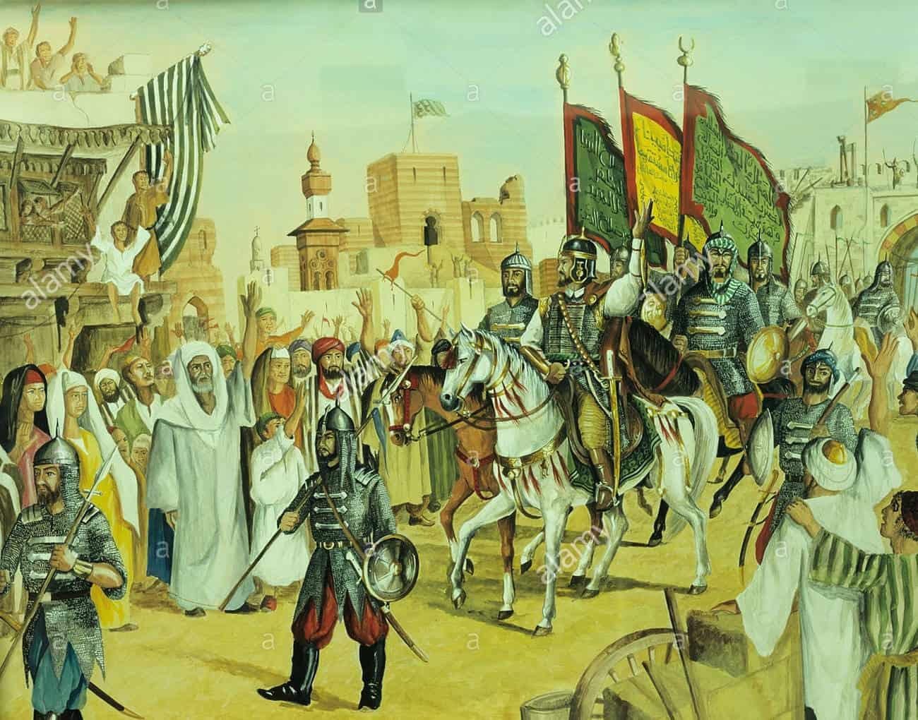 A 20th century depiction of Salahuddeen entering Jerusalem.